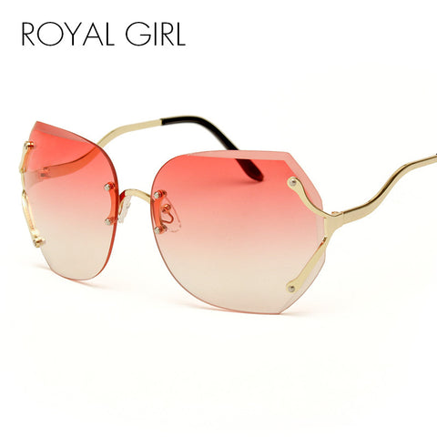 ROYAL GIRL Clear Sunglasses Women 2017 New Luxury Brand Gradient Men Oversize Sun Glasses Rimless Pink Eyeglasses Lune SS161