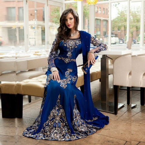 2016 Stunning Royal Blue Beaded Muslim Evening Dress Long Sleeves Moroccan Kaftan
