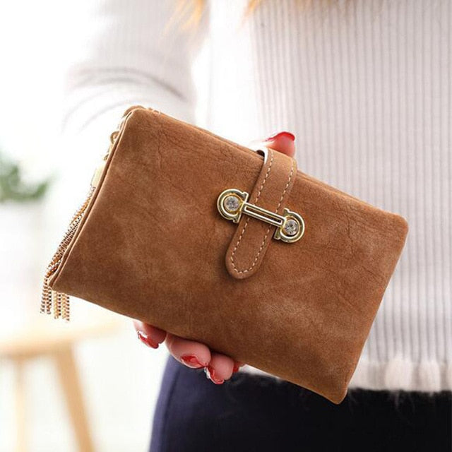 women Wallet card holder female wallet women luxury brand organizador women's purse clip Vintage Matte Hasp Suede pendant wallet