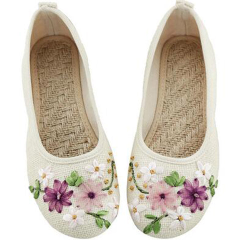 2016 Spring Retro Style Shoes Women Old Peking Flats Chinese Flower
