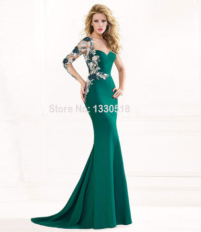 2016 Evening Dresses women evening long dress Mermaid Appliques Lace Sweetheart