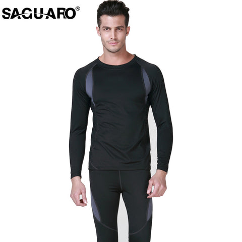 SAGUARO New Men Thermal Underwear Sets 2017 Winter Hot Dry Technology