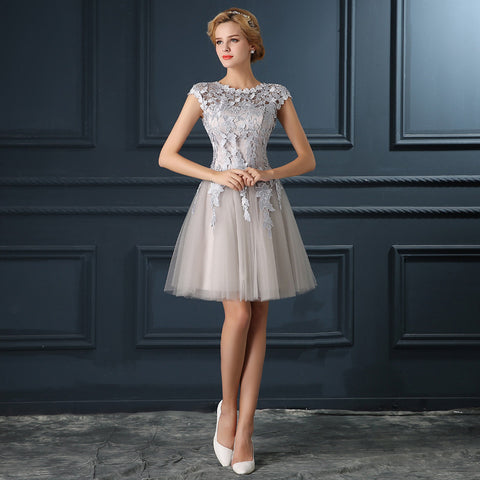 2016 new Robe De Soiree gery u collar prom dresses A-line banquet short lace evening