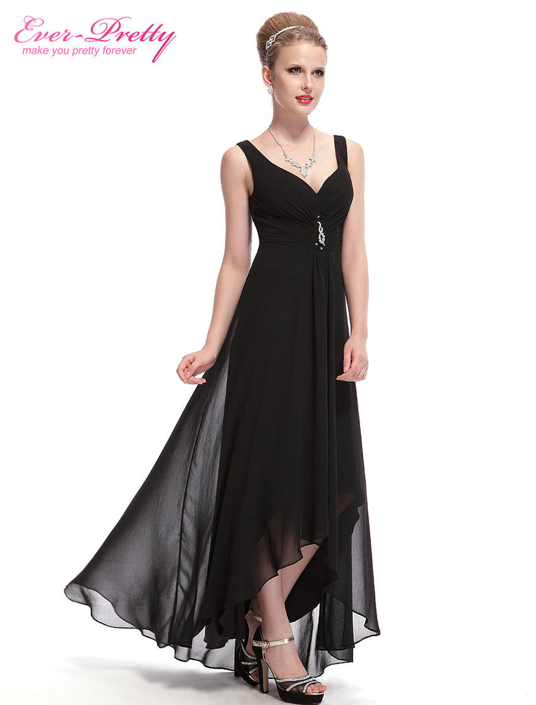 Long Evening Dresses Ever Pretty Plus Size EP09983BK Double V Neck ...