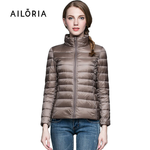 2015 Top Quality Brand Ladies Short Winter Autumn Overcoat Women Ultra Light 90%