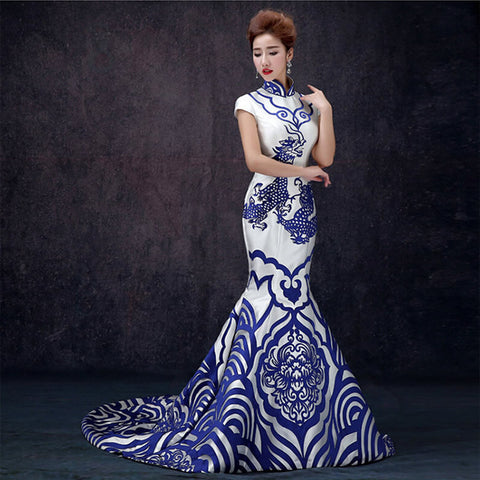 2016 Luxury Evening Dress Blue And White Porcelain Cheongsam Qipao Dresses Chinese