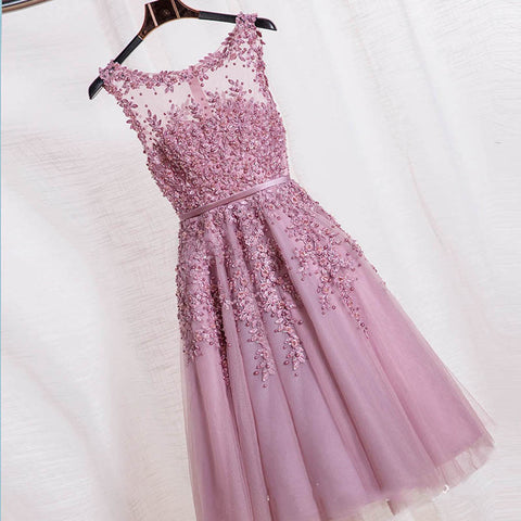 2016 Robe De Soiree Red Pink Blue Beading Lace Slit Short Evening Dresses