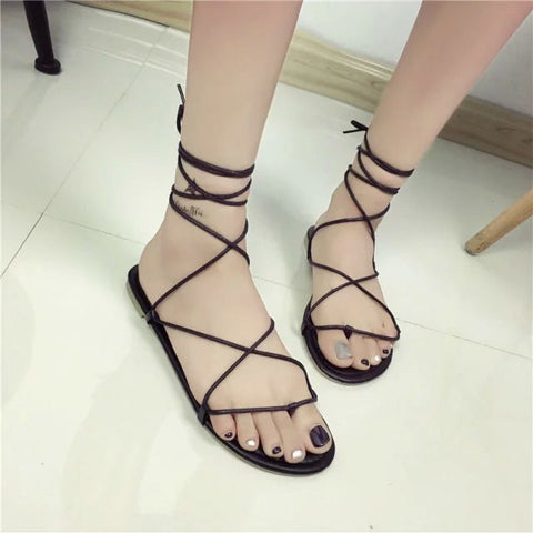 2016 celebrity brand new designer Faux Leather Strappy Roman Goth