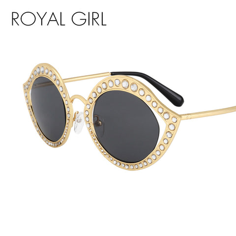 ROYAL GIRL Crystal Circle Sunglasses For Women Vintage Brand
