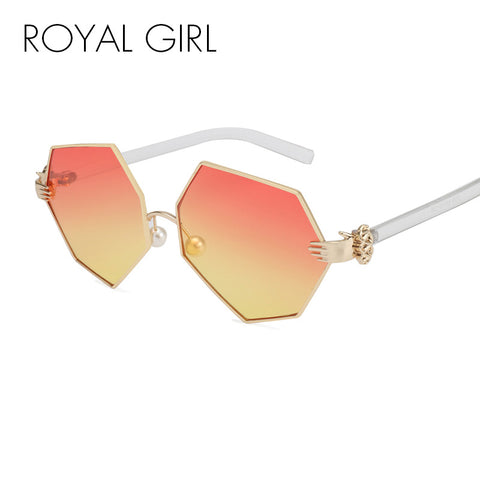 ROYAL GIRL New Fashion Gradient Heptagon Sunglasses Women Men Palm Leg Pearl Nose Pad Design Sun Glasses Female Eyeglasses ss228