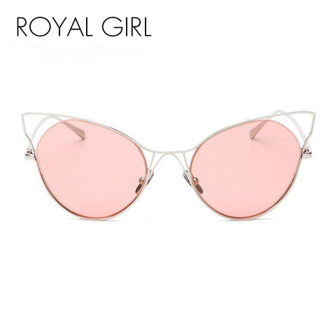 ROYAL GIRL New Fashion Women Sunglasses Cat Eyes Sunglasses Luxury Brand Design Mirror Eyewear Colorful Frame Oculos SS545