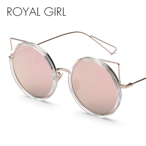 ROYAL GIRL New Round Mirror Coating Lens Sunglasses Women Brand Designer Cat eye Sun Glasses Vintage Oculos De Sol ss252