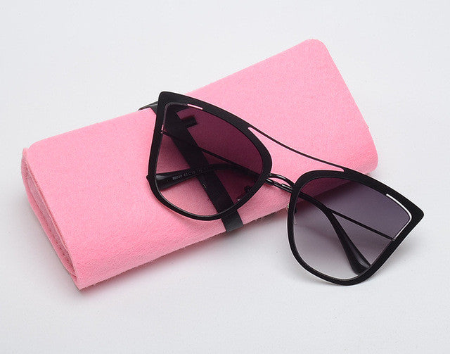 ROYAL GIRL New Metal Pointed Cat Eye Sunglasses Women Unique Vintage Eyeglasses Frames With Case ss906