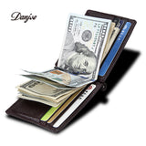DANJUE RFID Blocking Men Genuine Leather Money Clips Wallet Male Brand Card & ID Holder Dollar Clip Credit Card