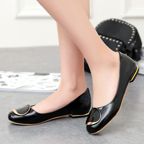 2016 European Style Flat Shoes Concise Square Head Women Shoes Big Size 34-43