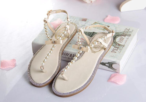 2016 bow women's flip-flop shoes rc t flip flops rhinestone pearl sandals