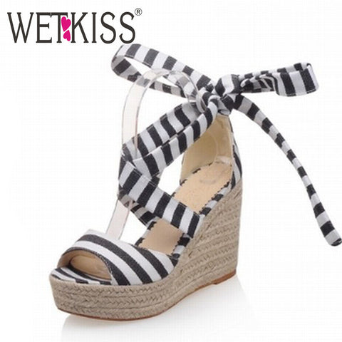 2016 New Arrival Lace up Women Sandals Gladiator Stripe Weave Wedges