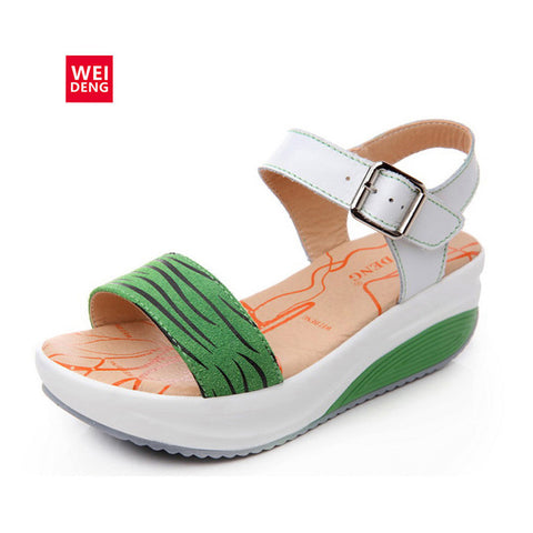 2016 New Design Geunine Leather Casual Platform Sandals Fashion