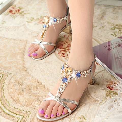 2015 summer new casual sweety beading women sandals med heels women sandals