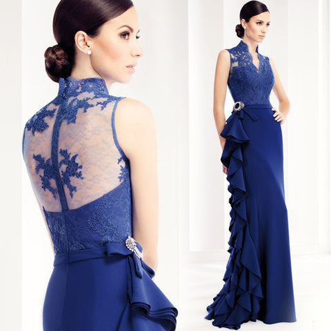 2016 Blue Lace Long Evening Dresses   The Banquet Elegant Backless