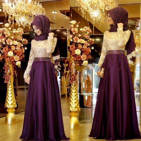 2016 A Line Purple Formal Long Sleeve Muslim Evening Dress Hijab Islamic Dubai