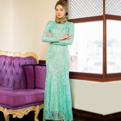 2016 New Arrival Green Lace Muslim Evening Dresses Abaya in Dubai Moroccan Kaftan