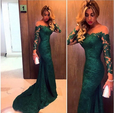 2016 Dark Green Evening Dresses Long Sleeve Custom Made Vestido Mermaid