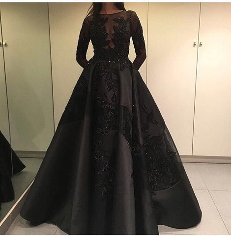 2016 High Quality Saudi Arabic Long Sleeve Evening Dresses Beads Long Robe De Soiree Custom