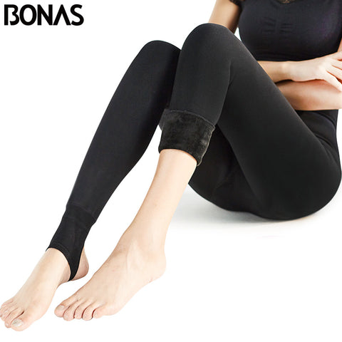 BONAS Women Warm Leggings Fitness Soft Comfortable Leggins Mujer Push Up