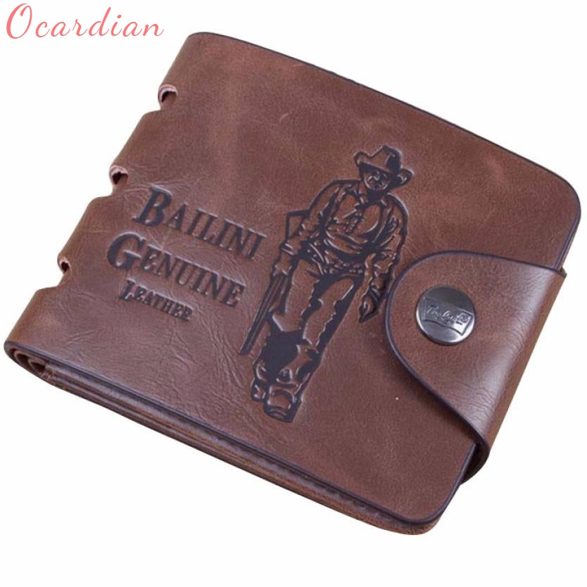 Fashion Mens Genuine Leather Bifold Wallet Credit//ID Card Holder Slim Purse