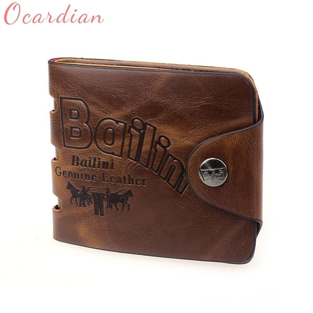 Genuine Leather Luxury Mens Bifold Credit ID Card Wallet Holder Slim Coin Purse