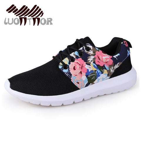 LUONTNOR 2018 New Spring Women Sneakers Print Flower Sport Shoes