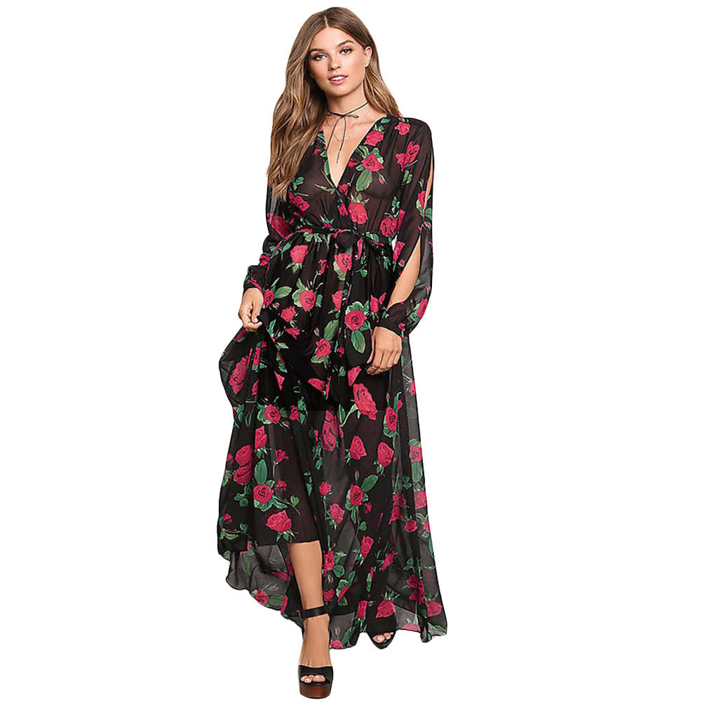 Sexy Women Maxi Dress Sheer Chiffon Floral Cross V-Neck Cut Out Sleeve Elastic Waist Boho