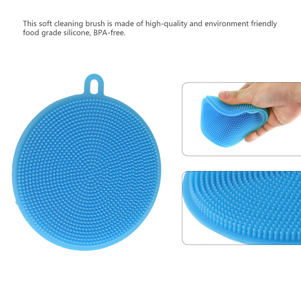 Food-grade Antibacterial Silicone Non Stick Dishwashing Dish Brush Sponge Towel