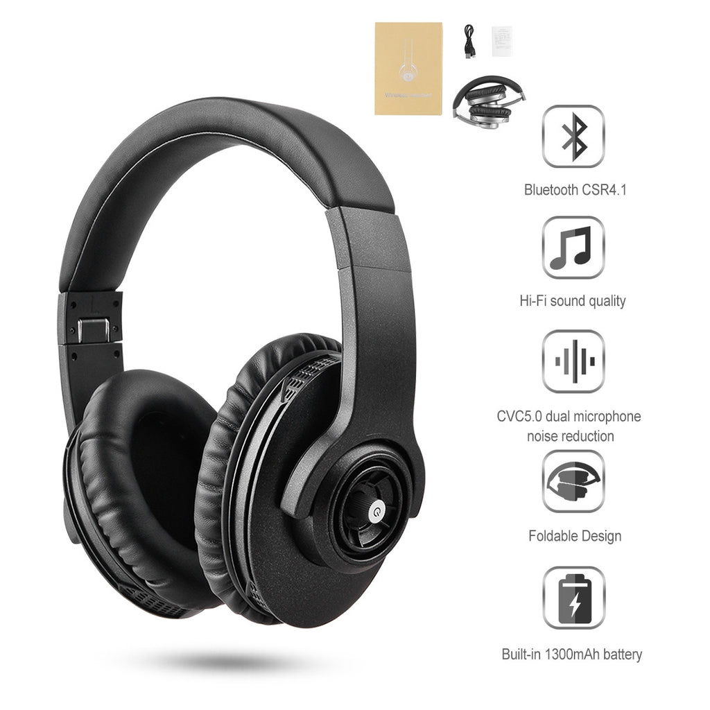 Wireless Bluetooth 4.1 Stereo Headset Adjustable with  Functions of 1300mAh 200H Standby Time 18H Talk Time with Mic and Volume Control for Smartphone Adults Kids Girls