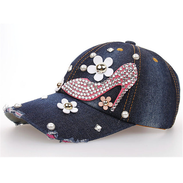 New Fashion Women Denim Washed Rhinestone Baseball Cap With Floral Jeans Simulation Diamond Caps Snapback Hats Hip Hop Hats