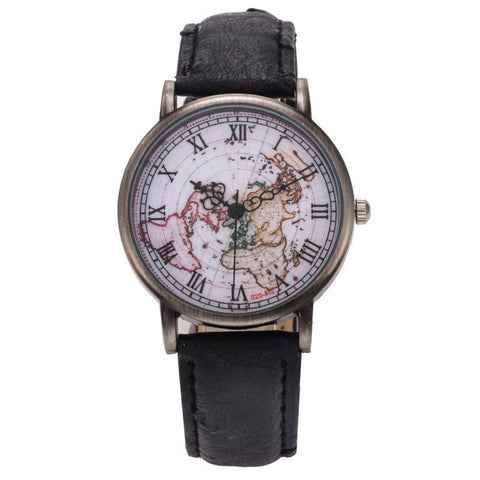 Fashion Vintage Retro World Map Watches Women Wristwatch Leather Strap Clock