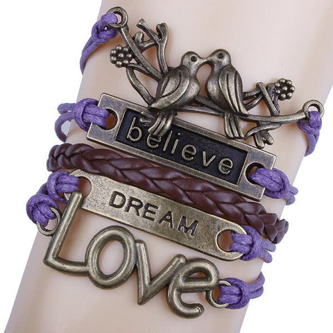 Believe Dream Love Purple Bracelet
