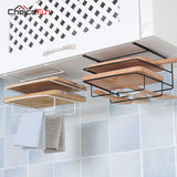 CHOICE FUN Metal Over Door Hanging Dishcloth Cutting Board Rack Organizer Black Kitchen Cutting Board Holder For Cabinet Door