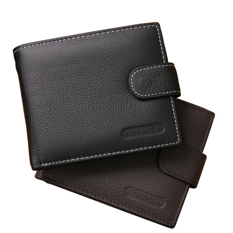 100% Genuine Leather Wallet Men Short Wallet Bifold Purse Card Holder Coin Pocket Male