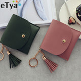 eTya Fashion Women Wallet Short Leather Mini Wallets Female Casual ID Card Holders Bags Ladies Coin Purse Pink Clutch Tassel Bag