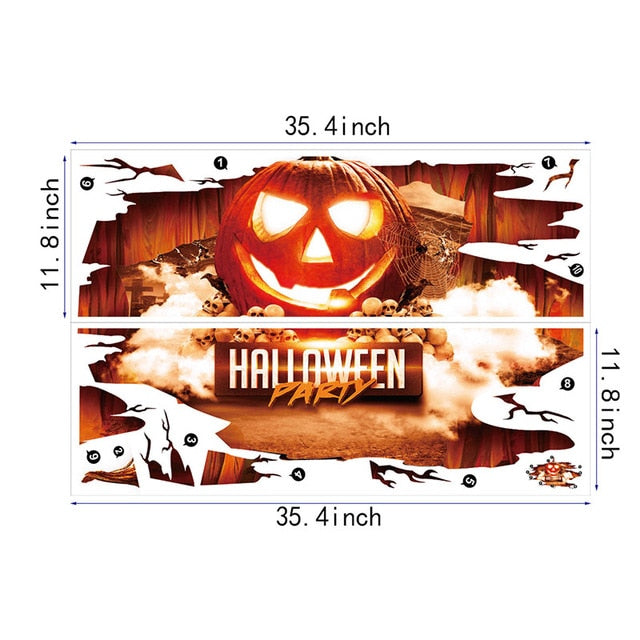 Halloween 3D Stickers View Scary Pumpkin Shaped Window Floor Stickers Halloween Decoration