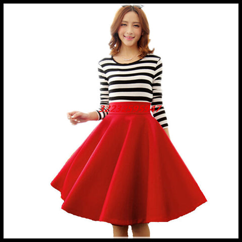 In The Autumn And Winter Grown Place Umbrella Skirt Retro Waisted Body Skirt New
