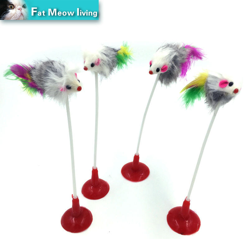 Hot 1pcs Funny Pet Cat Toys Feather False Mouse Bottom Sucker Cat Kitten Playing Toys