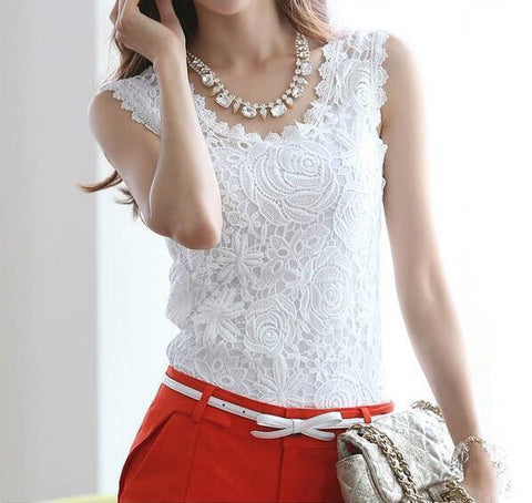 Blusas Femininas 2016 Summer Women Blouse Lace Vintage Sleeveless White Renda