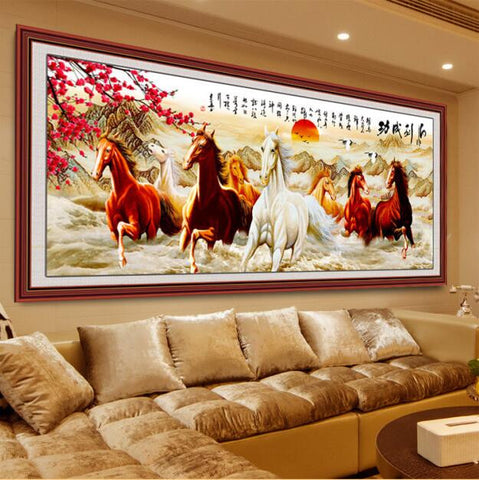 DIY 5D Diamonds Embroidery Eight Horses Win Instant Success Magic Cube Round Diamond