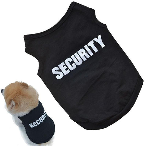 2016 Newly Design SECURITY Black Dog Vest Summer Pets Dogs Cotton Clothes Shirts Apparel