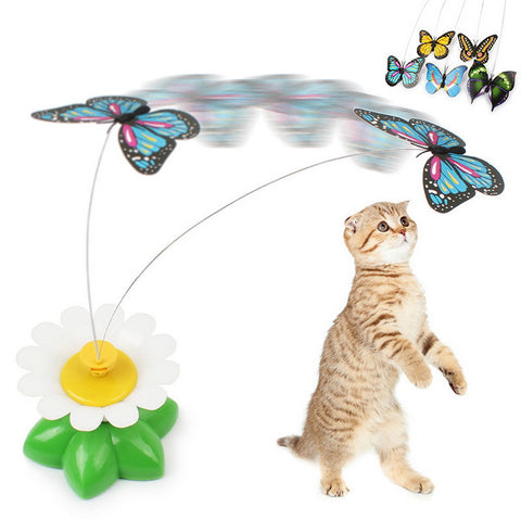 8 x 5.5cm 1 Pcs Electric Rotating Colorful Butterfly Funny Cat Toys Pet Seat ScratchToy For Cats Kitten