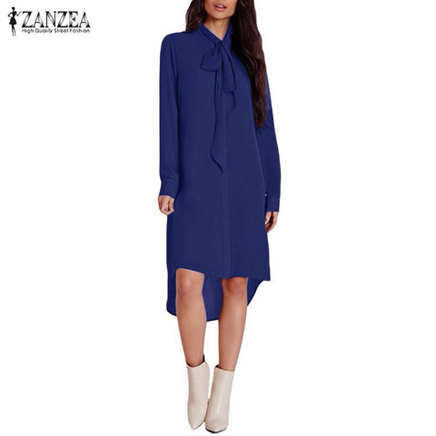 2016 ZANZEA Fashion Blusas Femininas Women Shirt Dress Bow Long Sleeve Casual