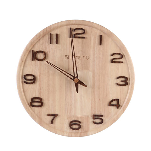 14 Inches Round Log Numbers Type Nordic Mute Wall Clock Creative Solid Wood Clock Wall Decor - Burlywood